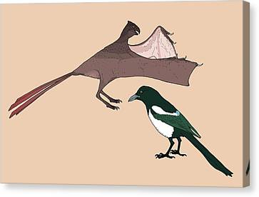Yi Qi Dinosaur Size Comparison Canvas Print by Nemo Ramjet