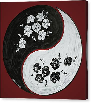 Yin And Yang Of Hibiscus  Canvas Print by Chikako Hashimoto Lichnowsky