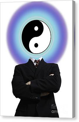 Opposing Forces Canvas Print - Yin Yang In A Man by Monica Schroeder
