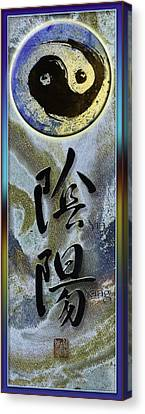 Yinyang Brush Calligraphy With Symbol Canvas Print by Peter v Quenter