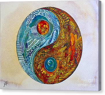 Canvas Print featuring the painting Yinyang  by Suzette Kallen