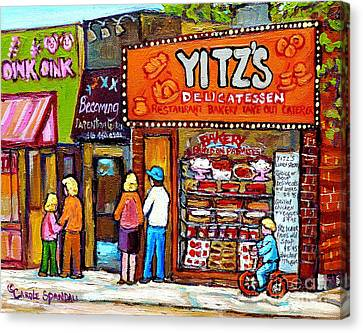 Yitzs Deli Toronto Restaurants Cafe Scenes Paintings Of Toronto Landmark City Scenes Carole Spandau  Canvas Print by Carole Spandau