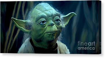 Shower Canvas Print - Yoda by Paul Tagliamonte