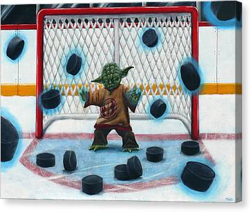 Hockey Canvas Print - Yoda Saves Everything by Marlon Huynh