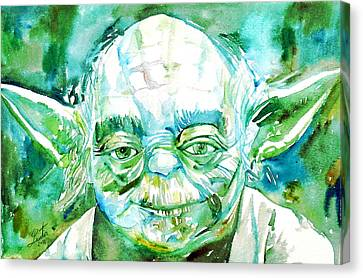Yoda Watercolor Portrait Canvas Print by Fabrizio Cassetta
