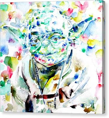 Yoda Watercolor Portrait.1 Canvas Print by Fabrizio Cassetta