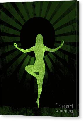 Sun Rays Canvas Print - Yoga Female Silhouette Abstract by Nishanth Gopinathan