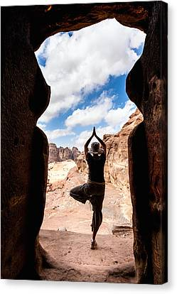 Yoga In Petra Canvas Print by Alexey Stiop