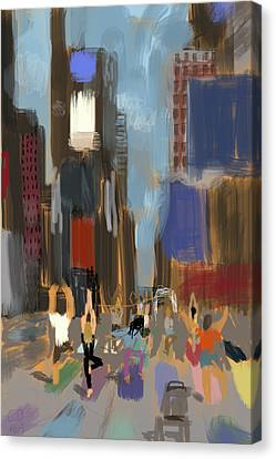 Yoga In Times Square Canvas Print by Chris Brown