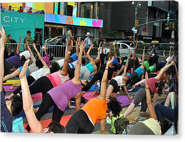 Yoga In Times Square Canvas Print by Diane Lent