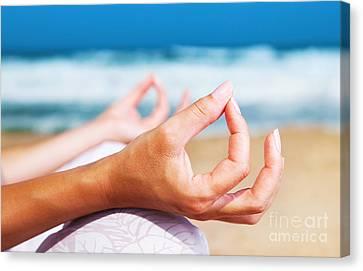 Yoga Meditation On The Beach Canvas Print