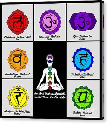 Yoga Reiki Seven Chakra Symbols Chart Canvas Print by Ernest Bolds