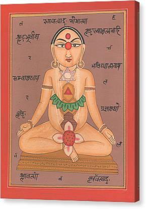 Yoga Yogi Kundalini Meditation Chakra Vedic Artwork Handmade Painting Artist Art Gallery  Canvas Print by A K Mundhra