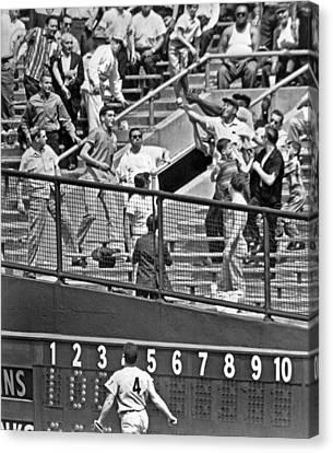 Yogi Berra Home Run Canvas Print by Underwood Archives