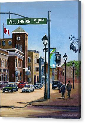 Canvas Print featuring the painting Yonge And Wellington South Side    by Margit Sampogna