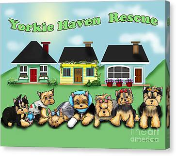 Yorkie Haven Rescue Canvas Print by Catia Cho