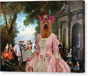 Yorkshire Terrier Art - Dancing At The Fountain Canvas Print by Sandra Sij