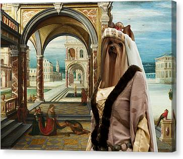 Yorkshire Terrier Art - The Courtyard Of A Renaissance Palace Canvas Print by Sandra Sij