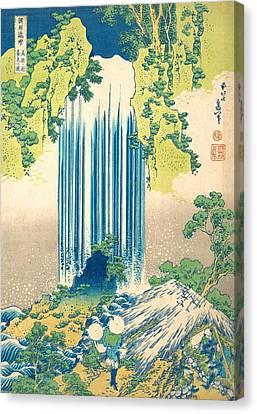 Yoro Waterfall In Mino Province Canvas Print by Katsushika Hokusai