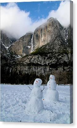 Yosemite Falls Snowmen Canvas Print by Patricia Sanders