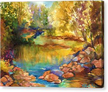 Yosemite Golden Trees On Still Waters Canvas Print by Therese Fowler-Bailey