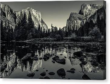 White Canvas Print - Yosemite National Park Valley View Reflection by Scott McGuire