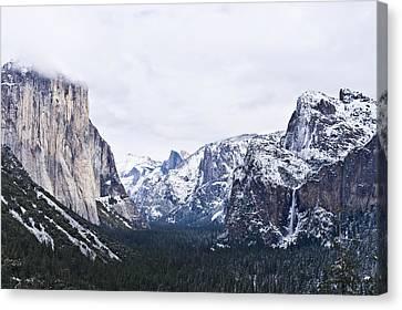 Yosemite Tunnel View In Winter Canvas Print by Priya Ghose