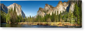 Yosemite Valley And Merced River Canvas Print by Jane Rix