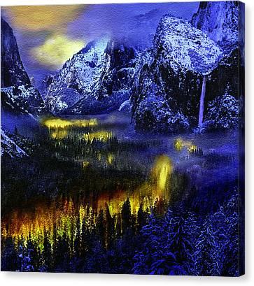 Yosemite Valley At Night Canvas Print by Bob and Nadine Johnston