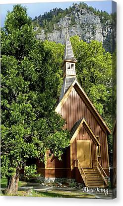 Canvas Print featuring the photograph Yosemite Valley Chapel by Alex King