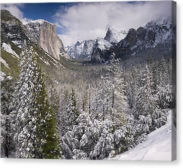Yosemite Valley In Winter Canvas Print