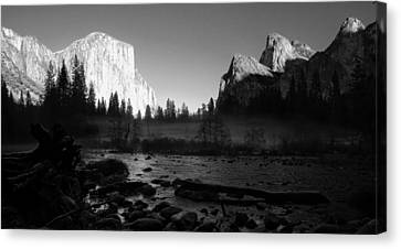 Yosemite Valley View Black And White Canvas Print