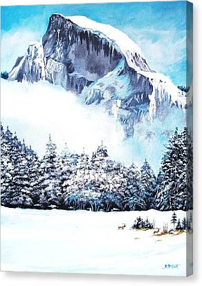 Canvas Print featuring the painting Yosemite Winter by Al Brown