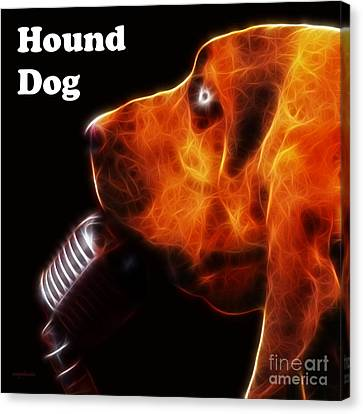 You Ain't Nothing But A Hound Dog - Dark - Electric - With Text Canvas Print by Wingsdomain Art and Photography