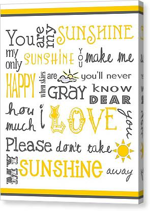 Children Canvas Print - You Are My Sunshine Poster by Jaime Friedman