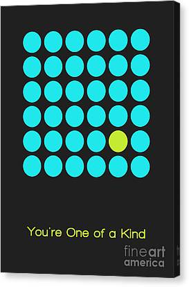 Lime Canvas Print - You Are One Of A Kind - Blue by Aimelle