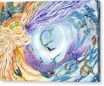 Angel Mermaids Ocean Canvas Print - You Are The Sun I Am The Moon by Sara Burrier