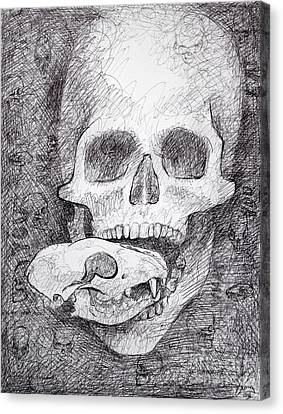 Creepy Canvas Print - You Are What You Eat Skull Drawing by Adam Long