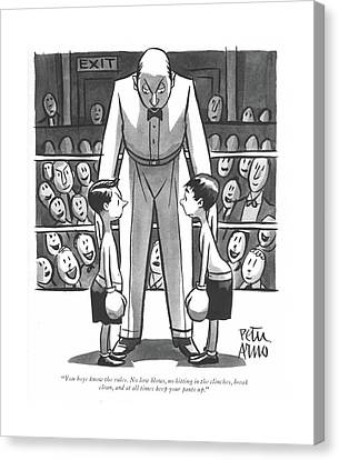 Referee Canvas Print - You Boys Know The Rules. No Low Blows by Peter Arno