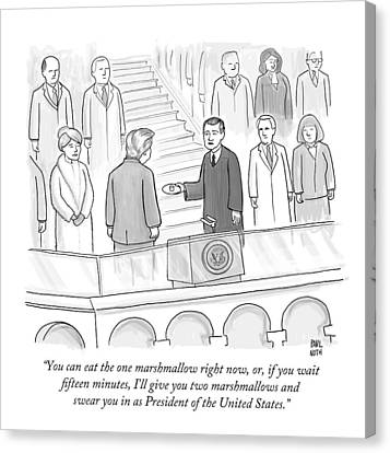 You Can Eat The One Marshmallow Right Now Canvas Print by Paul Noth