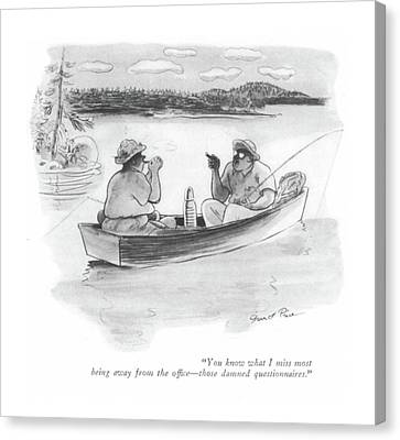 Rowboat Canvas Print - You Know What I Miss Most Being Away by Garrett Price