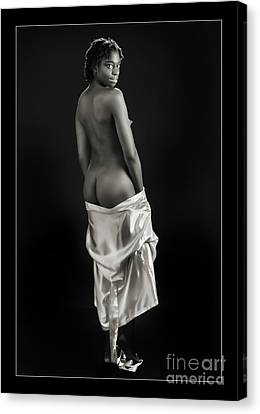 Chynna African American Nude Girl In Sexy Sensual Photograph And In Black And White Sepia 1165.01 Canvas Print by Kendree Miller