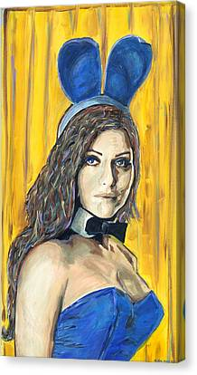 Playboy Bunny Canvas Print - You Look Good In Blue by Michael Jenks