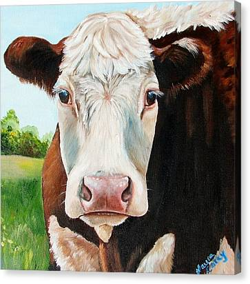 Cow Canvas Print - You Talking To Me by Laura Carey