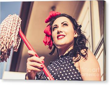 Young 50s Brunette Housewife Holding Red Mop Canvas Print by Jorgo Photography - Wall Art Gallery