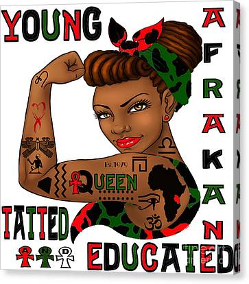 Young Afrakan Tatted And Educated Canvas Print