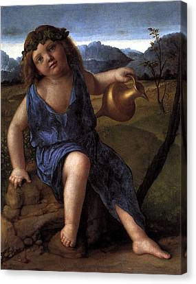 Canvas Print featuring the painting Young Bacchus Dionysus Giovanni Bellini 1514 by Karon Melillo DeVega