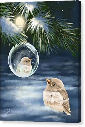 Snowy Trees Canvas Print - Young Bird by Veronica Minozzi