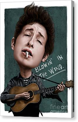 Young Bob Dylan Canvas Print by Andre Koekemoer