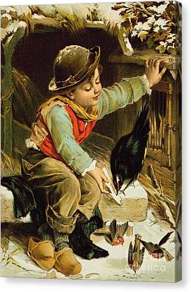 Feeding Canvas Print - Young Boy With Birds In The Snow by English School